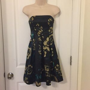 Black/Gold/teal floral satin strapless dress XS